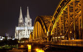 View of Cologne and the Cologne cathedral in the night — Stock Photo