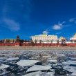Moscow Kremlin during an ice drift across the Moskva River — Stock Photo #23094932