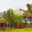 Restaurant on the bank of the lake Batur, Indonesia, Bali - Stock Photo