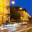 Transport on Vltava Embankment at night Prague, Czech Republic. - Stock Photo