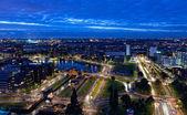 Widok z rotterdamu w nocy z wysokości — Zdjęcie stockowe