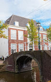 Beautiful view of channels in Delft (Netherlands) in sunny autumn day — Stock Photo