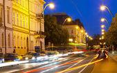 Transport on Vltava Embankment at night Prague, Czech Republic. — Stock Photo