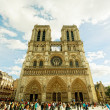 PARIS, FRANCE -SEPT.30: Notre-Dame, Paris, France, on September 30, 2012. Was under construction from 1163 to 1345. Cathedral height  35 m, length  130 m, width  48 m, height of belltowers  69 m — Stock Photo