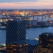 View of Rotterdam from height of bird's flight at night — Foto Stock