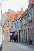 BRUGES, BELGIUM - SEPTEMBER 29: driver to carry tourists down the street , Bruges, Belgium, 29.09.2012. — Stock Photo