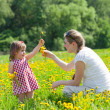 Royalty-Free Stock Photo: Mother with the small daughter play on a glade with dandelions