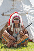 North American Indian in full dress. Reconstruction — Stock Photo
