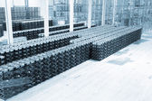 Big constitution for storage of finished goods at a factory on manufacture of mineral water — Stockfoto