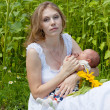 Stock Photo: Young mother with the baby among blossoming sunflowers