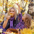 Happy mum and the daughter play autumn park on the fallen down foliage — Stock Photo #27208503