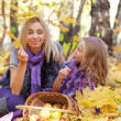 Happy mum and the daughter play autumn park on the fallen down foliage — Stock Photo #27208567