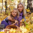 Happy mum and the daughter play autumn park on the fallen down foliage — Stock Photo #27551587