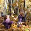 Happy mum and the daughter play autumn park on the fallen down foliage — Stock Photo #28192563