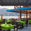 Stock Photo: Restaurant verandah overlooking sea