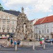 Stock Photo: Tourists on areCabbage market at fountain Parnassus, Brno, Czech Republic, July, 30, 2013. Second-large city of Czech Republic and largest city of Moravia