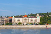 BUDAPEST, HUNGARY - JUNE 8:View of swimming baths Gelert , on June 8, 2012 in Budapest, Hungary. The bathing complex settles down in the beautiful building built in style secession in 1918. — Stock Photo