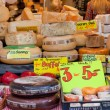 DELFT,NETHERLANDS - SEPTEMBER 27: Show-window with cheese in shop, Delft, Holland, September 27,2012 — Stock Photo