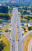 Top view on a big fork of the high-speed highway — Stock Photo