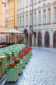 Street cafe in the historical district of Prague, the Czech Republic — Stock Photo