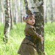 Little girl in a military uniform — Stock Photo