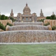 Fountain on Placa De Espanya, before National Museum in Barcelona, Spain — Stock Video