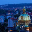 View of Prague at night: river Vltava and bridges — Stock Photo