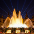 Night view of Magic Fountain light show in Barcelona, Spain — Stock Photo