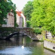 Classic view of channels of Bruges. Belgium. Medieval fairytale city. Summer urban landscape. — Stock Photo