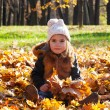 Girl sits among the leaves — Stock Photo