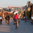 Cyclists on Charles Bridge — Stock Photo