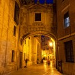 Street of Valencia at night — Stock fotografie