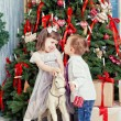 Boy and the girl near Christmas fir-tree — Stock Photo #36100853