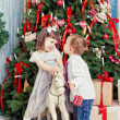 Boy and the girl near Christmas fir-tree — Stok fotoğraf