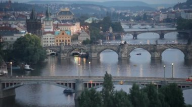 Vltava bridge in Prague — Stock Video