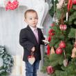 Boy with Christmas tree — Stock Photo