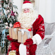Saint Nicolas with gifts — Stock Photo