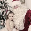 Saint Nicolas and girl — Stock Photo