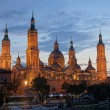 Basilica Del Pilar in Zaragoza in night illumination, Spain — Stock Photo
