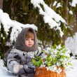 Little girl in a winter wood with the big basket of snowdrops — Stock Photo #37389433