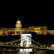 Stock Photo: Illuminated Chain Bridge and Royal Palace