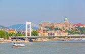 View of the white bridge and Danube in Budapest — Stock Photo