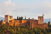 View of Alkhambr's fortress on a sunset, Granada, Spain — Foto Stock