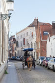Driver to carry tourists down the street , Bruges, Belgium — Stock Photo