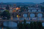在晚上的布拉格视图 — 图库照片