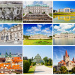 Set of photos with types of sights of Vienna, Austria — Stock Photo
