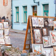 Stock Photo: Pictures of sidewalk artists,Latvia