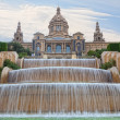 Fountain on Placa De Espanya, before National Museum in Barcelona, Spain — Stock Photo