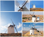 Set of photos with windmills, Consuegra, Spain — Stock Photo