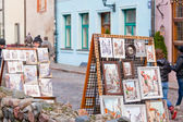 Pictures of sidewalk artists,Latvia — Stock Photo